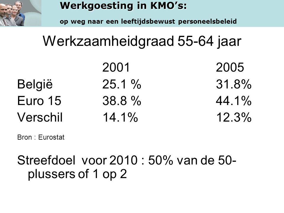 Werkgoesting in KMO's: op weg naar een leeftijdsbewust personeelsbeleid Werkzaamheidgraad 55-64 jaar 20012005 België25.1 % 31.8% Euro 1538.8 % 44.1% V