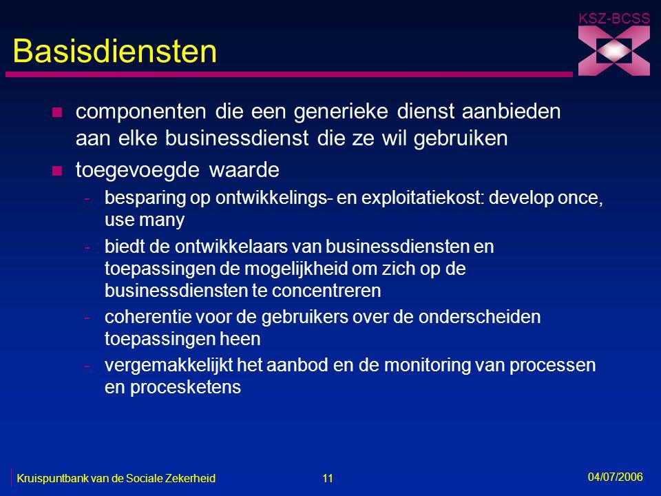 11 Kruispuntbank van de Sociale Zekerheid KSZ-BCSS 04/07/2006 Basisdiensten n componenten die een generieke dienst aanbieden aan elke businessdienst d