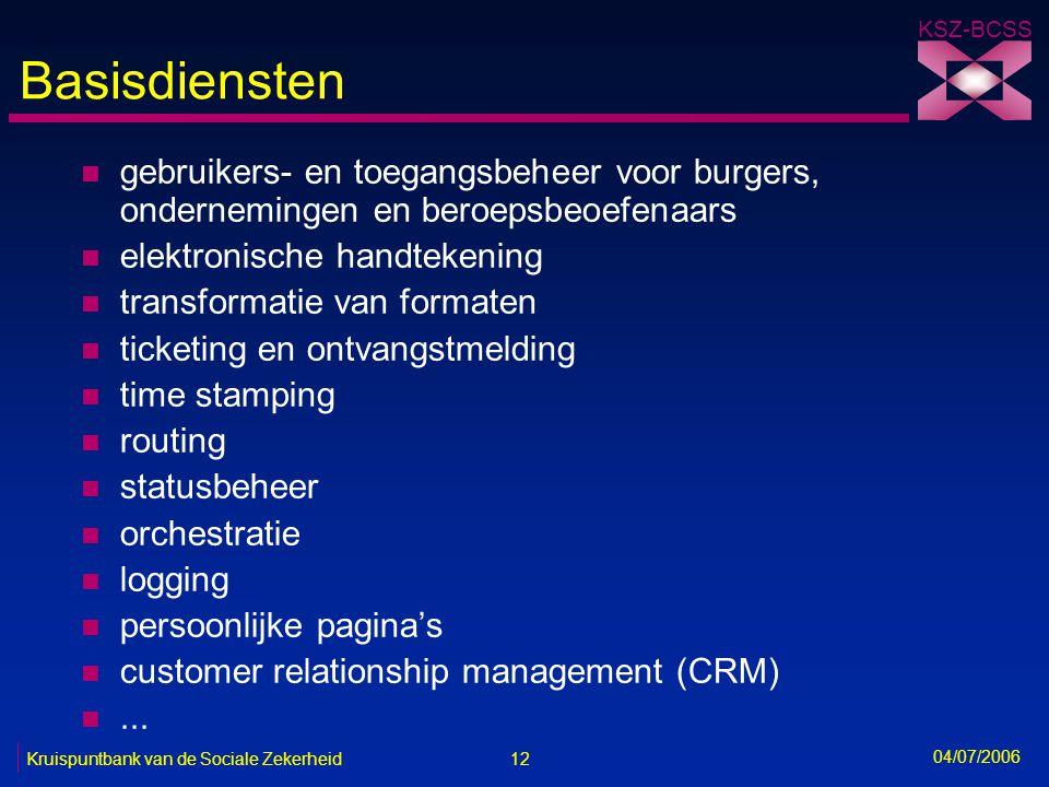 12 Kruispuntbank van de Sociale Zekerheid KSZ-BCSS 04/07/2006 Basisdiensten n gebruikers- en toegangsbeheer voor burgers, ondernemingen en beroepsbeoe