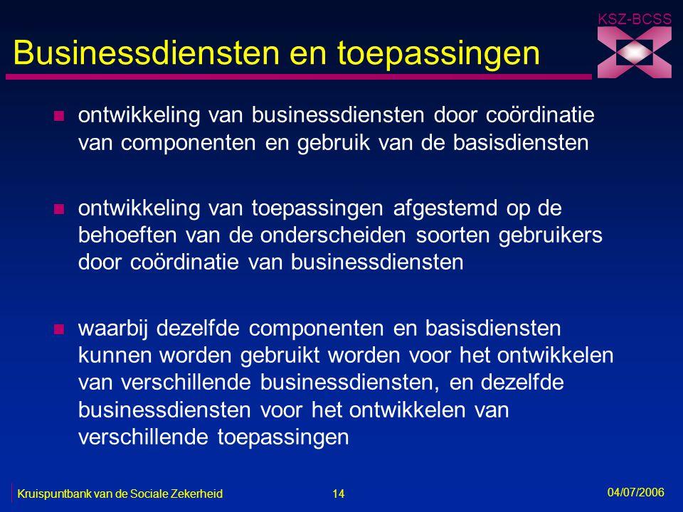 14 Kruispuntbank van de Sociale Zekerheid KSZ-BCSS 04/07/2006 Businessdiensten en toepassingen n ontwikkeling van businessdiensten door coördinatie va