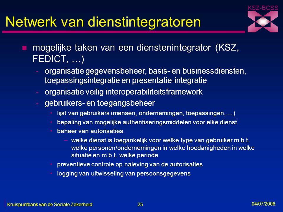 25 Kruispuntbank van de Sociale Zekerheid KSZ-BCSS 04/07/2006 Netwerk van dienstintegratoren n mogelijke taken van een dienstenintegrator (KSZ, FEDICT