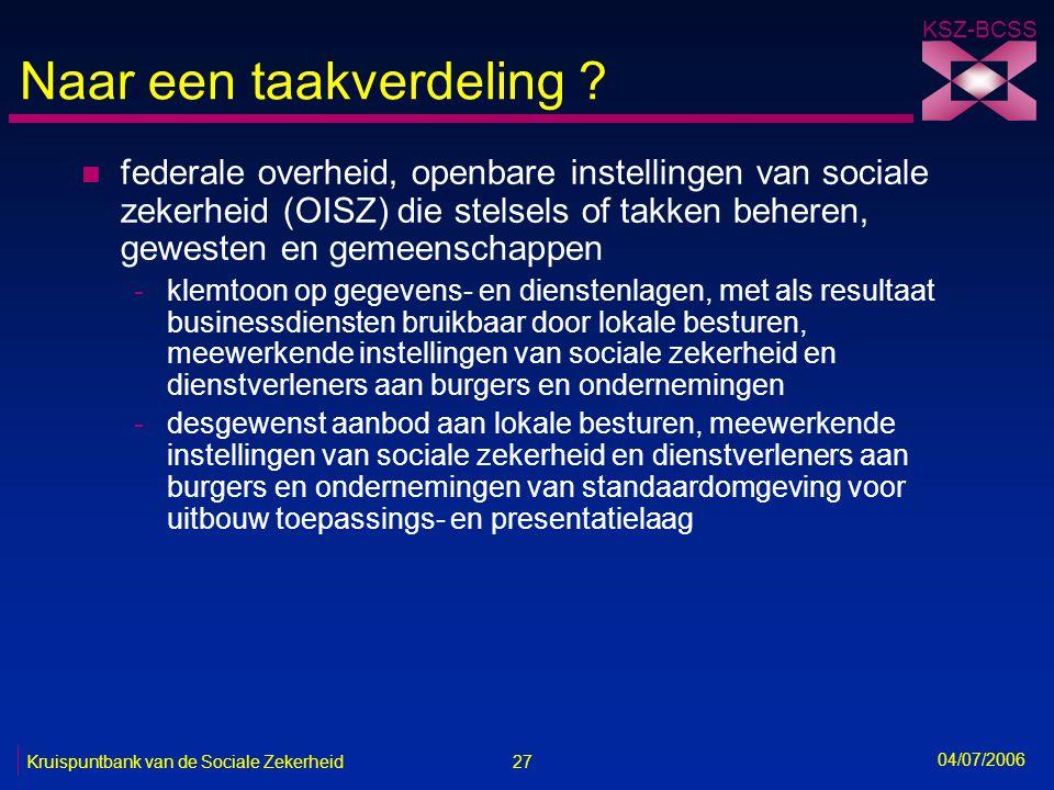 27 Kruispuntbank van de Sociale Zekerheid KSZ-BCSS 04/07/2006 Naar een taakverdeling ? n federale overheid, openbare instellingen van sociale zekerhei