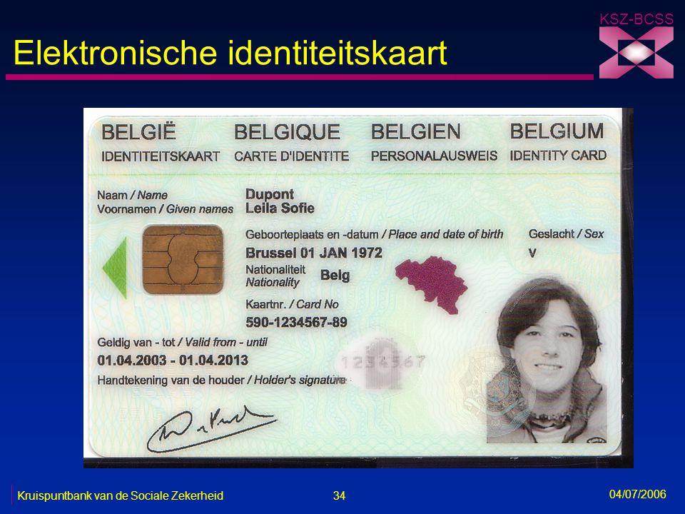 34 Kruispuntbank van de Sociale Zekerheid KSZ-BCSS 04/07/2006 Elektronische identiteitskaart