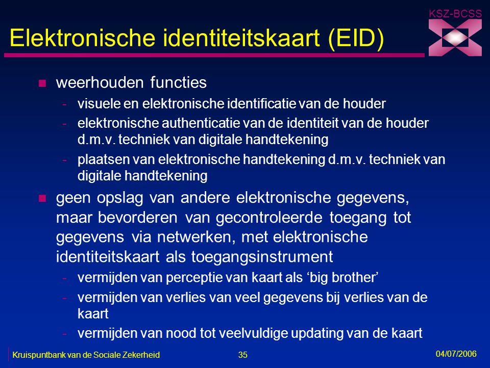 35 Kruispuntbank van de Sociale Zekerheid KSZ-BCSS 04/07/2006 Elektronische identiteitskaart (EID) n weerhouden functies -visuele en elektronische ide