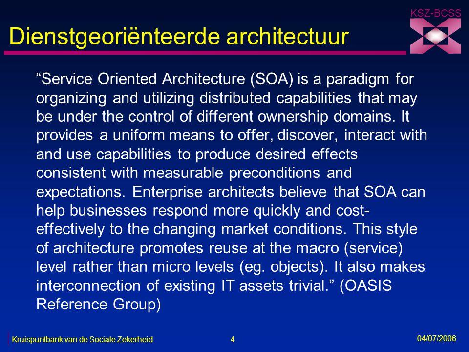 5 Kruispuntbank van de Sociale Zekerheid KSZ-BCSS 04/07/2006 Gelaagde architectuur Basisdiensten Toepassingen Presentatie Businessdiensten Gegevens