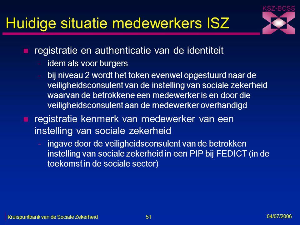 51 Kruispuntbank van de Sociale Zekerheid KSZ-BCSS 04/07/2006 Huidige situatie medewerkers ISZ n registratie en authenticatie van de identiteit -idem