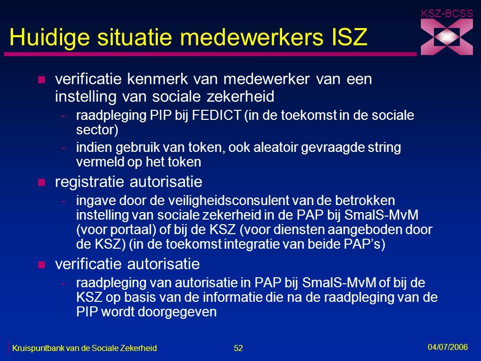 52 Kruispuntbank van de Sociale Zekerheid KSZ-BCSS 04/07/2006 Huidige situatie medewerkers ISZ n verificatie kenmerk van medewerker van een instelling