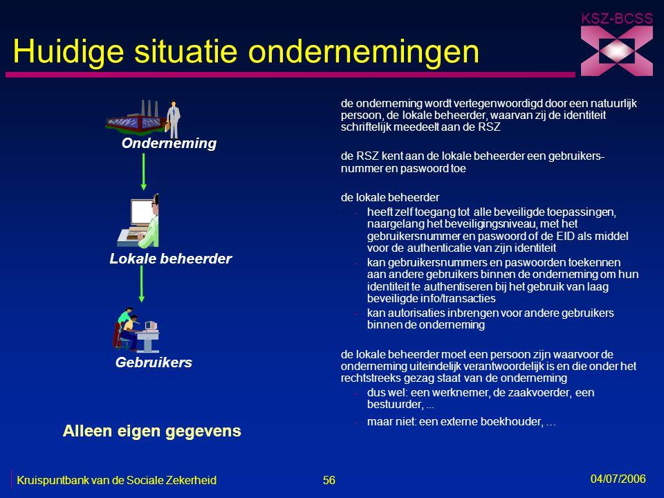 56 Kruispuntbank van de Sociale Zekerheid KSZ-BCSS 04/07/2006 Huidige situatie ondernemingen de onderneming wordt vertegenwoordigd door een natuurlijk