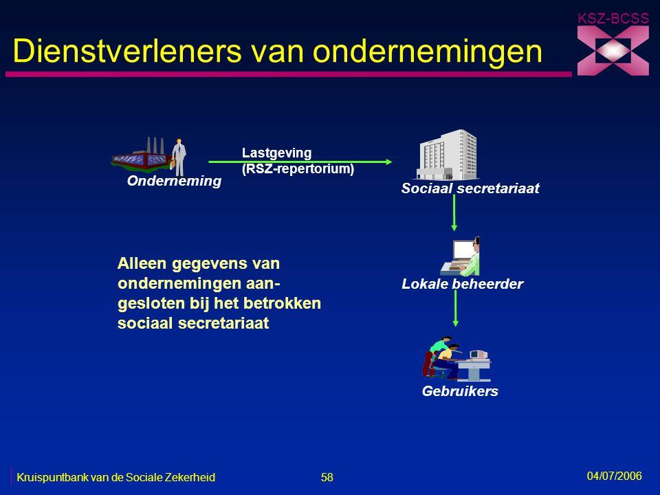 58 Kruispuntbank van de Sociale Zekerheid KSZ-BCSS 04/07/2006 Dienstverleners van ondernemingen Onderneming Lokale beheerder Gebruikers Alleen gegeven