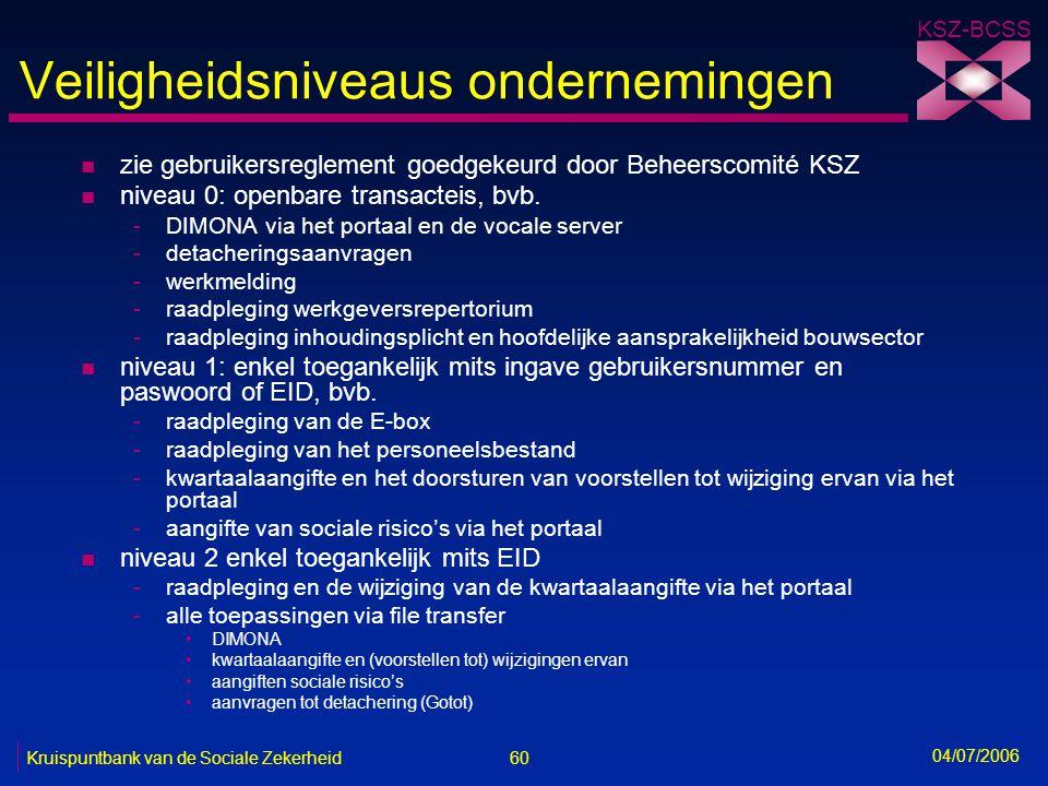60 Kruispuntbank van de Sociale Zekerheid KSZ-BCSS 04/07/2006 Veiligheidsniveaus ondernemingen n zie gebruikersreglement goedgekeurd door Beheerscomit