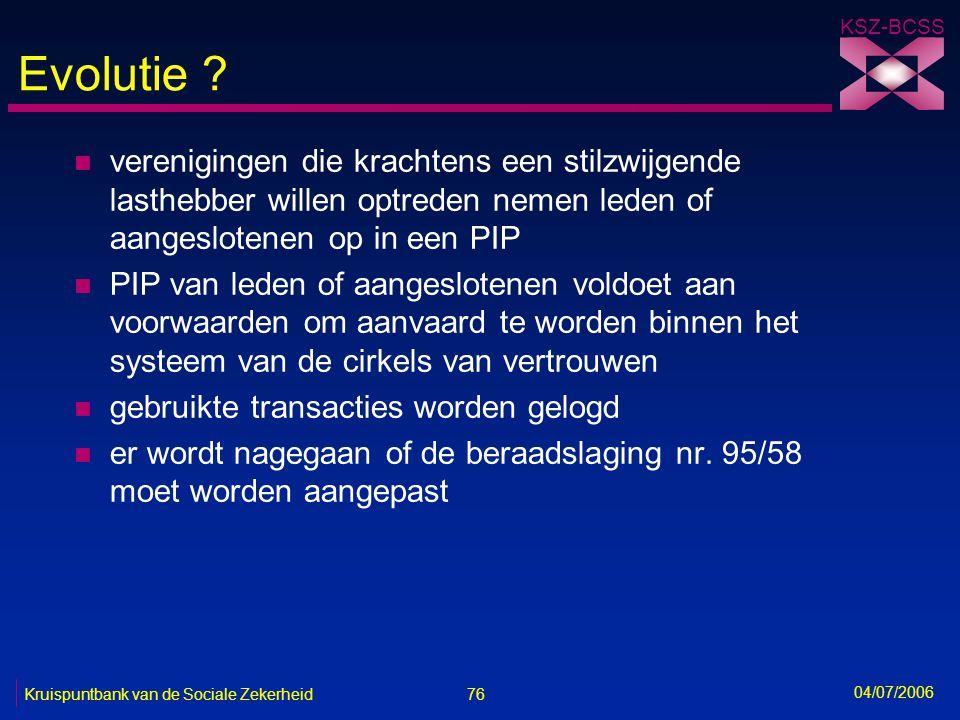 76 Kruispuntbank van de Sociale Zekerheid KSZ-BCSS 04/07/2006 Evolutie ? n verenigingen die krachtens een stilzwijgende lasthebber willen optreden nem