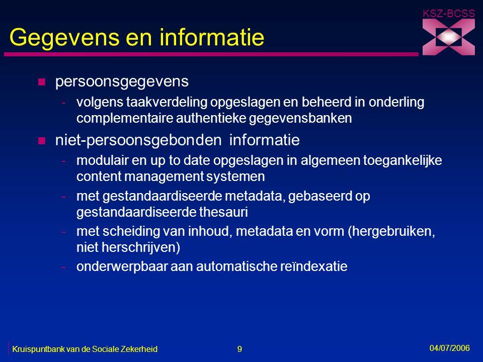 9 Kruispuntbank van de Sociale Zekerheid KSZ-BCSS 04/07/2006 Gegevens en informatie n persoonsgegevens -volgens taakverdeling opgeslagen en beheerd in