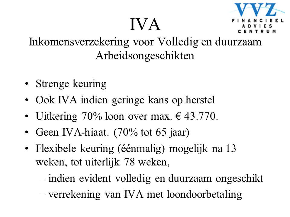IVA Inkomensverzekering voor Volledig en duurzaam Arbeidsongeschikten •Strenge keuring •Ook IVA indien geringe kans op herstel •Uitkering 70% loon ove