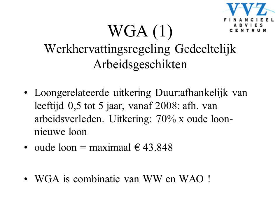 WGA (1) Werkhervattingsregeling Gedeeltelijk Arbeidsgeschikten •Loongerelateerde uitkering Duur:afhankelijk van leeftijd 0,5 tot 5 jaar, vanaf 2008: a
