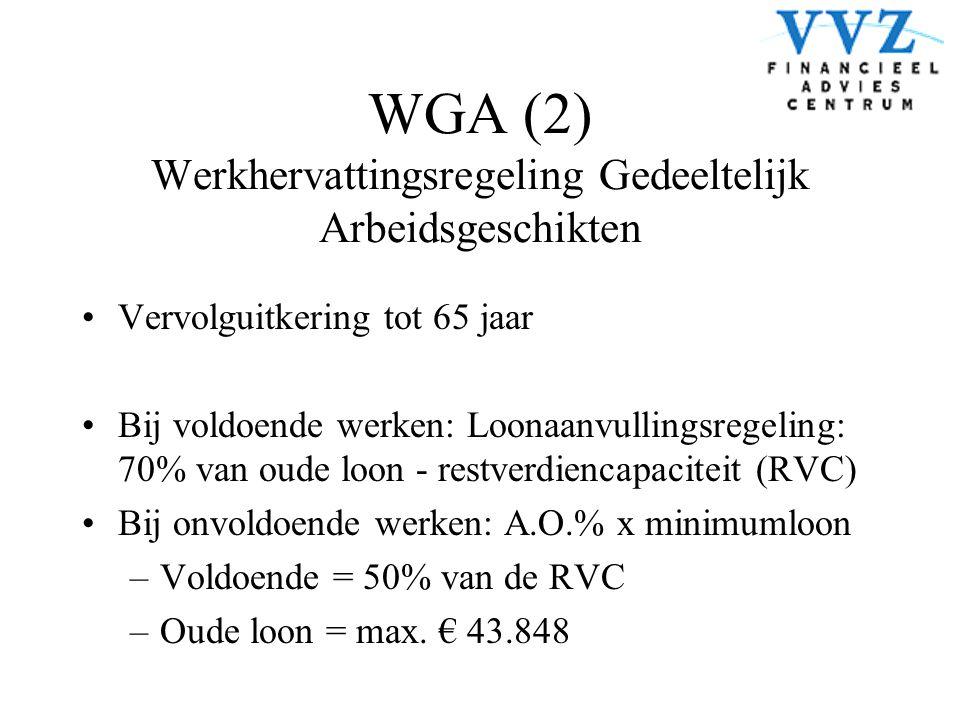 WGA (2) Werkhervattingsregeling Gedeeltelijk Arbeidsgeschikten •Vervolguitkering tot 65 jaar •Bij voldoende werken: Loonaanvullingsregeling: 70% van o