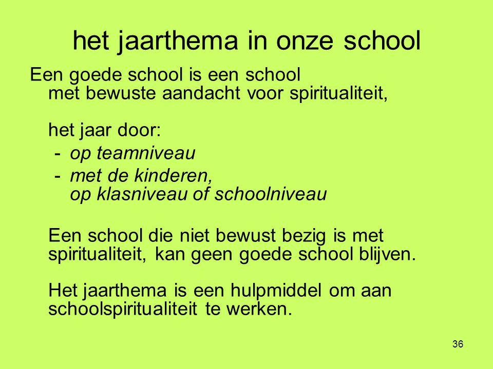 36 het jaarthema in onze school Een goede school is een school met bewuste aandacht voor spiritualiteit, het jaar door: -op teamniveau -met de kindere
