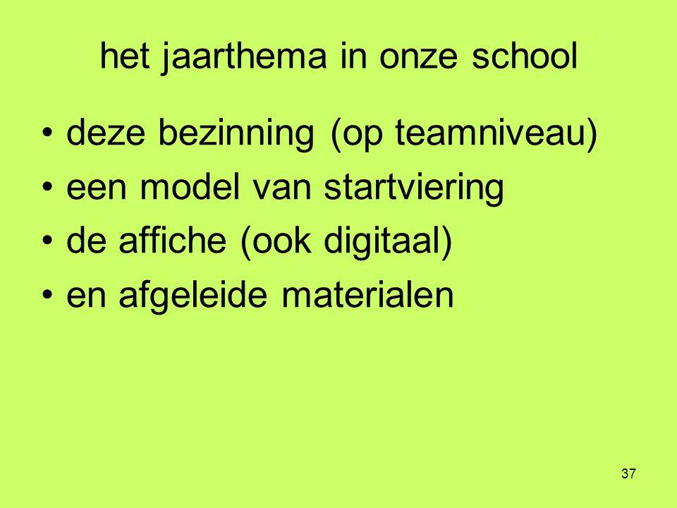 37 het jaarthema in onze school •deze bezinning (op teamniveau) •een model van startviering •de affiche (ook digitaal) •en afgeleide materialen