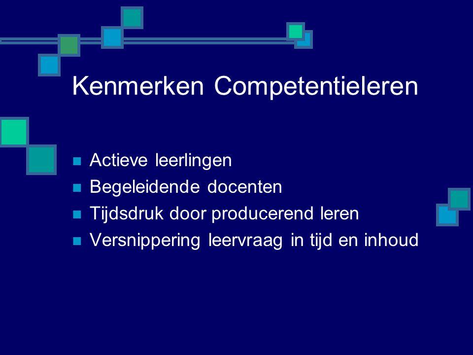 Kenmerken Competentieleren  Actieve leerlingen  Begeleidende docenten  Tijdsdruk door producerend leren  Versnippering leervraag in tijd en inhoud