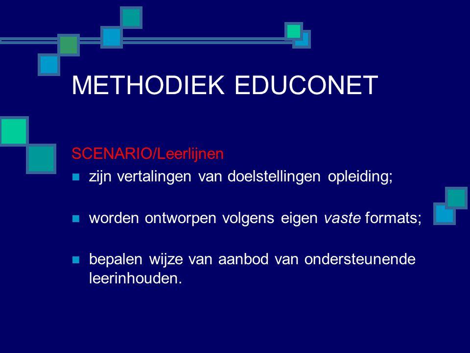 METHODIEK EDUCONET SCENARIO/Leerlijnen  zijn vertalingen van doelstellingen opleiding;  worden ontworpen volgens eigen vaste formats;  bepalen wijze van aanbod van ondersteunende leerinhouden.