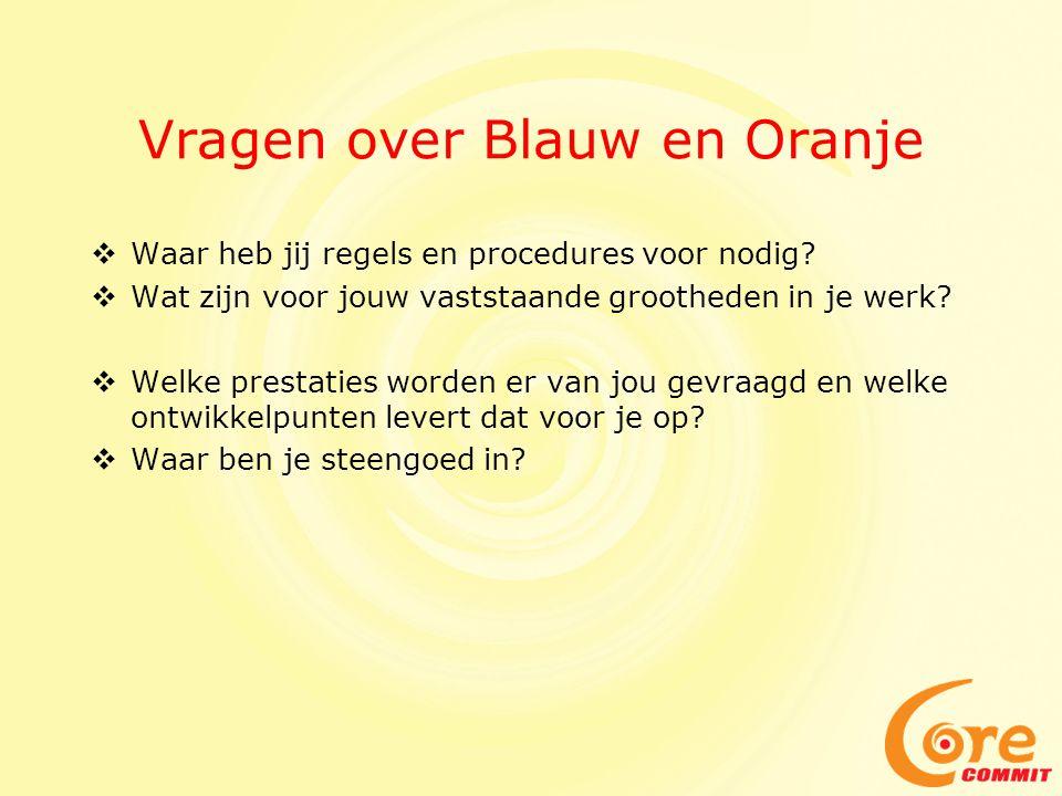 Vragen over Blauw en Oranje  Waar heb jij regels en procedures voor nodig.