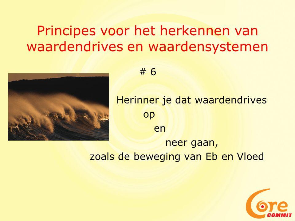 Principes voor het herkennen van waardendrives en waardensystemen # 6 Herinner je dat waardendrives op en neer gaan, zoals de beweging van Eb en Vloed