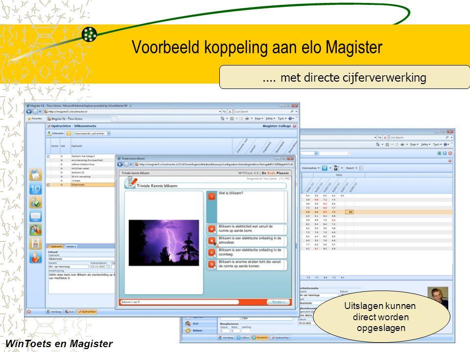 Voorbeeld koppeling aan elo Magister.... met directe cijferverwerking Uitslagen kunnen direct worden opgeslagen WinToets en Magister
