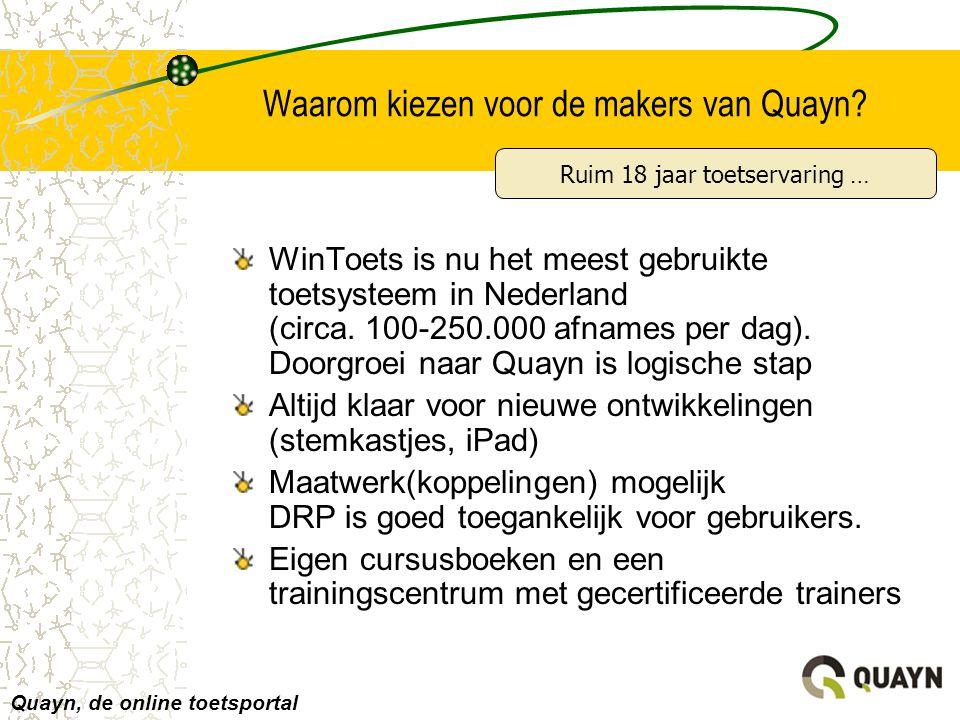 Waarom kiezen voor de makers van Quayn? WinToets is nu het meest gebruikte toetsysteem in Nederland (circa. 100-250.000 afnames per dag). Doorgroei na