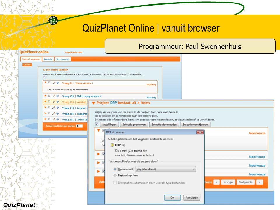 QuizPlanet Online | vanuit browser QuizPlanet Programmeur: Paul Swennenhuis