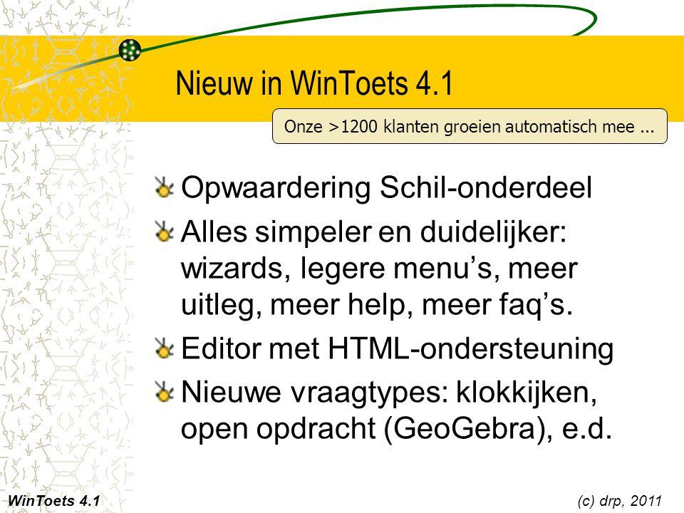 Nieuw in WinToets 4.1 Opwaardering Schil-onderdeel Alles simpeler en duidelijker: wizards, legere menu's, meer uitleg, meer help, meer faq's. Editor m
