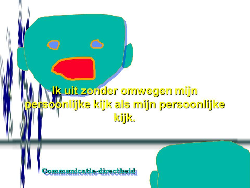 Communicatie-directheidCommunicatie-directheid Het direct in woordtaal overbrengen accepteren, stimuleren en positief houden.