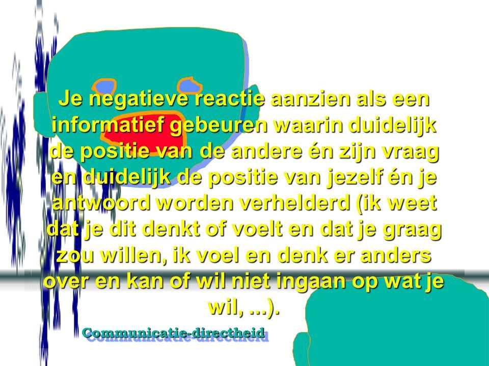 Communicatie-directheidCommunicatie-directheid Zo je op iets niet wil ingaan of iets wil weigeren, dadelijk nadat de ander zijn vraag of voorstel kon