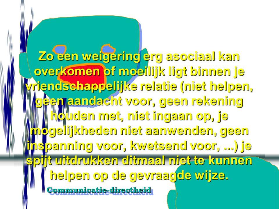 Communicatie-directheidCommunicatie-directheid Een kort neen-antwoord geven op gedragsniveau, aanvangend met 'neen, ik...' en het in de vraag gebruikt