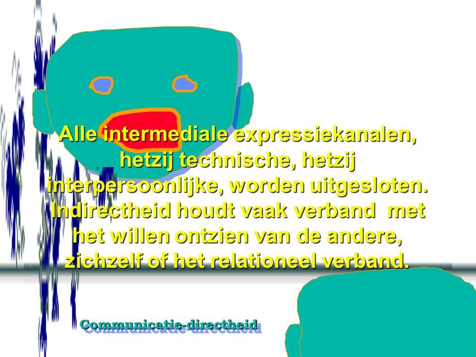 Communicatie-directheidCommunicatie-directheid Alle intermediale expressiekanalen, hetzij technische, hetzij interpersoonlijke, worden uitgesloten.