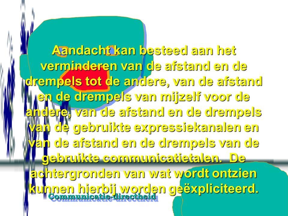 Communicatie-directheidCommunicatie-directheid Alle intermediale expressiekanalen, hetzij technische, hetzij interpersoonlijke, worden uitgesloten. In