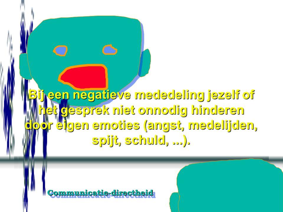 Communicatie-directheidCommunicatie-directheid Ik aanvaard bij directe mededelingen afwijzend, negatief emotioneel gekleurd en ongedaan makend weerwer
