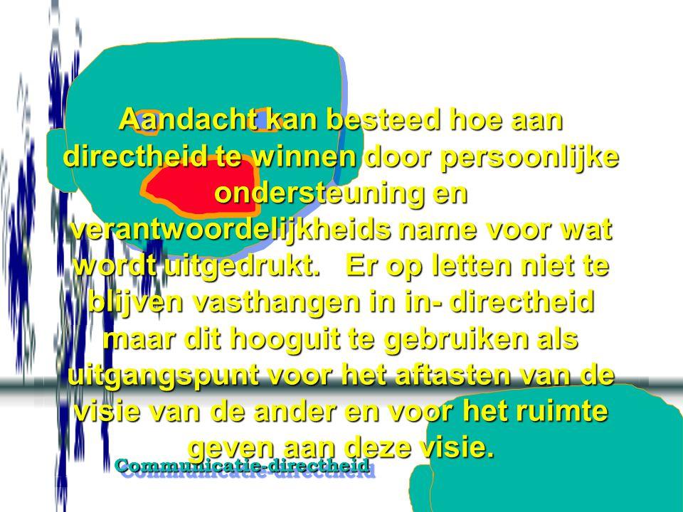 Communicatie-directheidCommunicatie-directheid Respectvolle directe vragen aan de ander stellen.