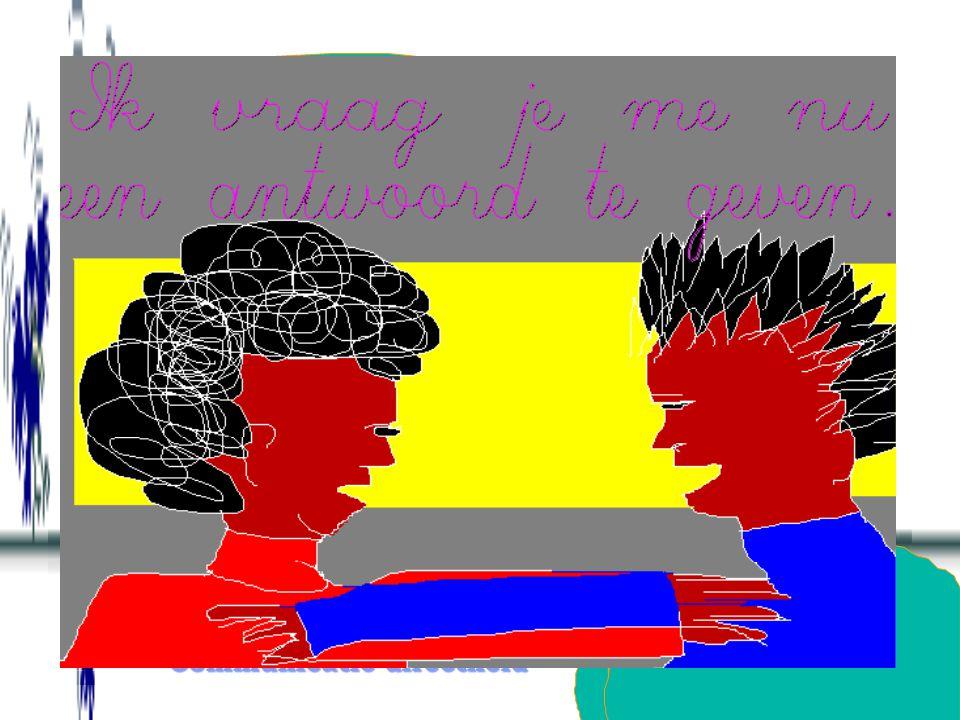 Communicatie-directheidCommunicatie-directheid Een kort neen-antwoord geven op gedragsniveau, aanvangend met neen, ik... en het in de vraag gebruikte werkwoord (neen, ik ga niet mee; neen, ik koop niet;...) en bij verder doorvragen aanvullen met omdat ik... en hetzelfde werkwoord (omdat ik niet meega,...).