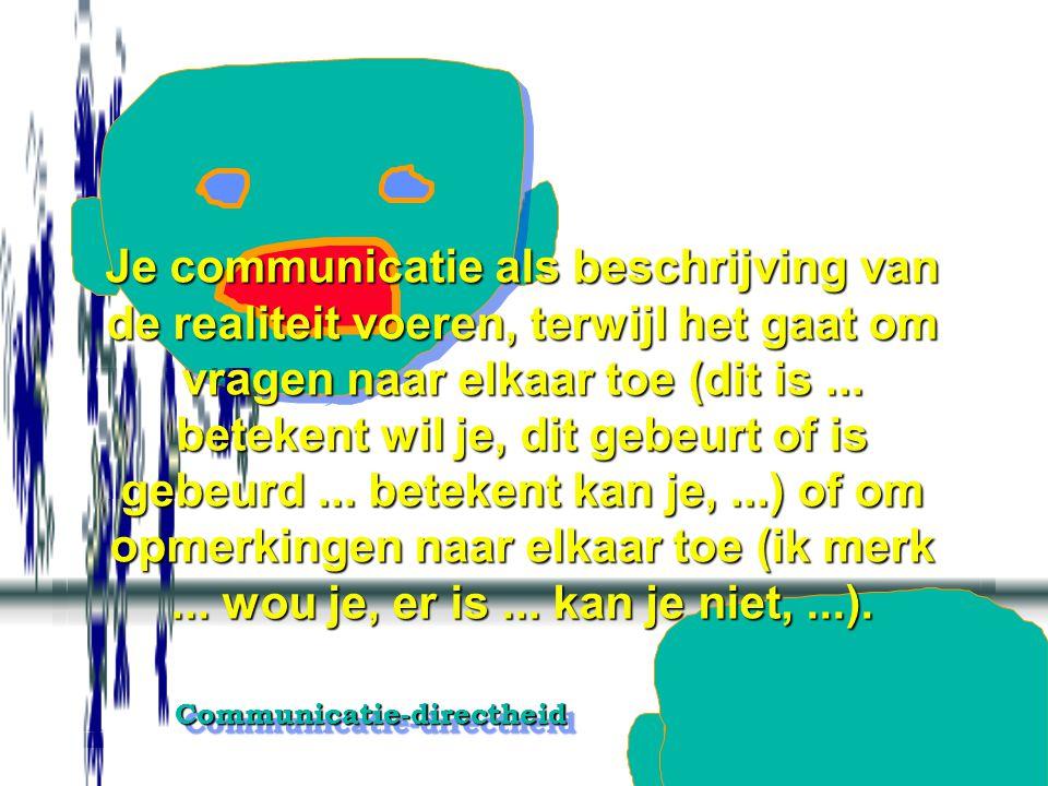 Communicatie-directheidCommunicatie-directheid Je werkelijke gevoelens verbergen achter neutrale, afstandelijke en niet- betrokken op- en aanmerkingen
