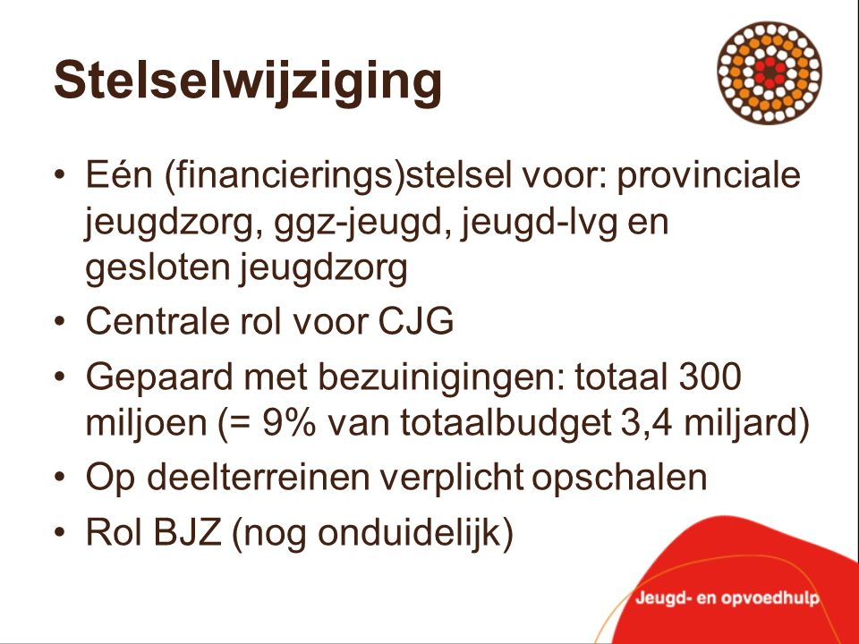 Stelselwijziging •Eén (financierings)stelsel voor: provinciale jeugdzorg, ggz-jeugd, jeugd-lvg en gesloten jeugdzorg •Centrale rol voor CJG •Gepaard m