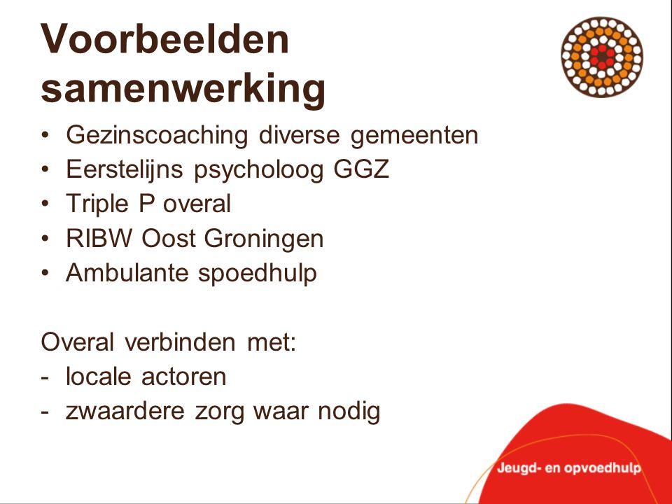 Voorbeelden samenwerking •Gezinscoaching diverse gemeenten •Eerstelijns psycholoog GGZ •Triple P overal •RIBW Oost Groningen •Ambulante spoedhulp Over