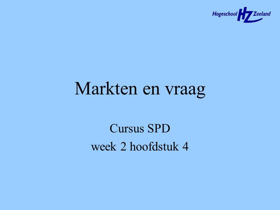 Markten en vraag Cursus SPD week 2 hoofdstuk 4