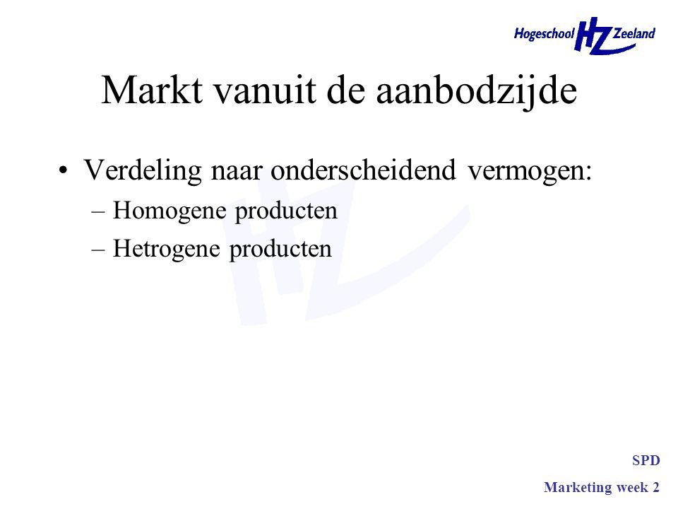 Markt vanuit de aanbodzijde •Verdeling naar onderscheidend vermogen: –Homogene producten –Hetrogene producten SPD Marketing week 2