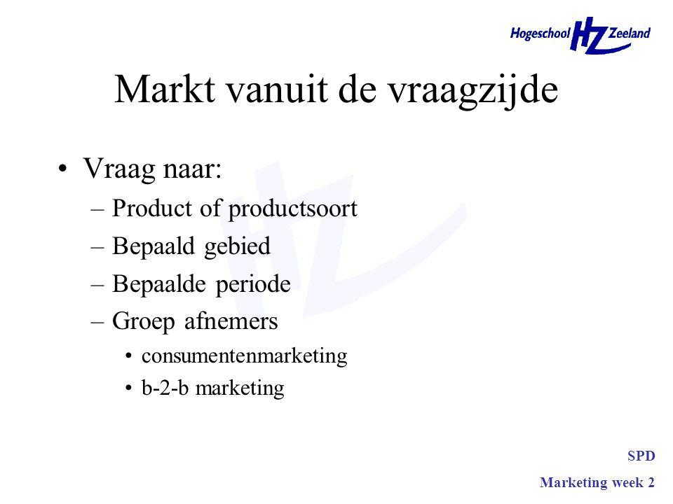 Markt vanuit de vraagzijde •Vraag naar: –Product of productsoort –Bepaald gebied –Bepaalde periode –Groep afnemers •consumentenmarketing •b-2-b marketing SPD Marketing week 2
