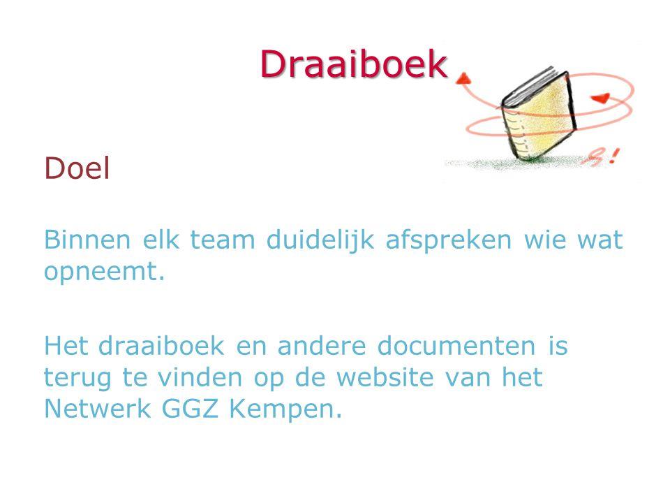 Draaiboek Doel Binnen elk team duidelijk afspreken wie wat opneemt. Het draaiboek en andere documenten is terug te vinden op de website van het Netwer