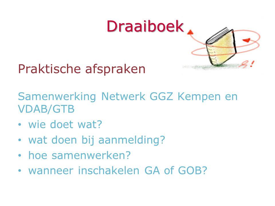 Draaiboek Praktische afspraken Samenwerking Netwerk GGZ Kempen en VDAB/GTB • wie doet wat? • wat doen bij aanmelding? • hoe samenwerken? • wanneer ins