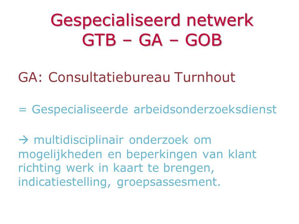 GA: Consultatiebureau Turnhout = Gespecialiseerde arbeidsonderzoeksdienst  multidisciplinair onderzoek om mogelijkheden en beperkingen van klant rich