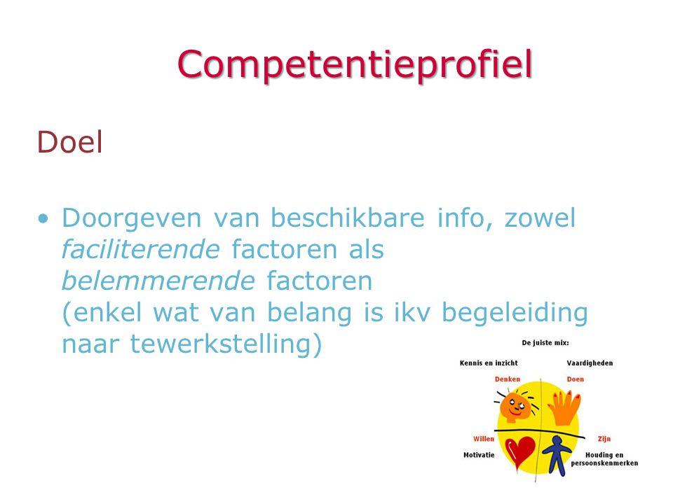 Competentieprofiel Doel •Doorgeven van beschikbare info, zowel faciliterende factoren als belemmerende factoren (enkel wat van belang is ikv begeleidi