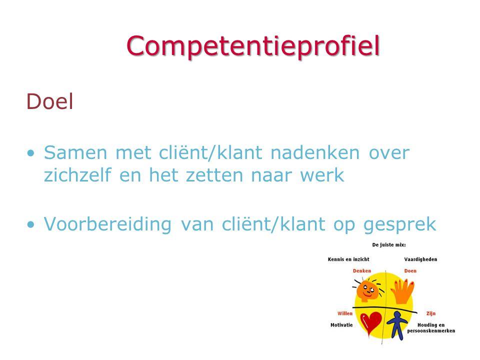 Competentieprofiel Doel •Samen met cliënt/klant nadenken over zichzelf en het zetten naar werk •Voorbereiding van cliënt/klant op gesprek
