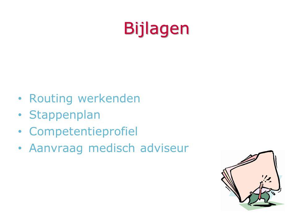 Bijlagen • Routing werkenden • Stappenplan • Competentieprofiel • Aanvraag medisch adviseur