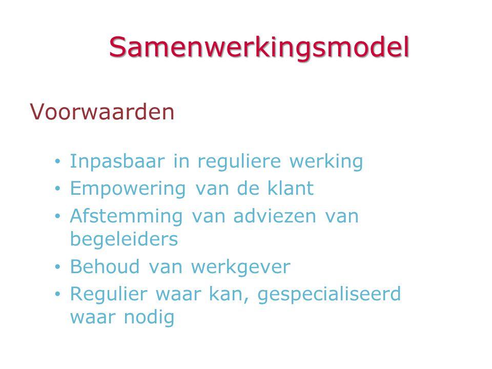 Samenwerkingsmodel Voorwaarden • Inpasbaar in reguliere werking • Empowering van de klant • Afstemming van adviezen van begeleiders • Behoud van werkg